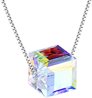 ? S925 Sterling Silver Necklace ? Aurora Crystals from Swarovski - Cubic Pendant Necklace for Women - Allergy Free Jewelry Gifts for Mother Daughter Girls - Gift Packaged