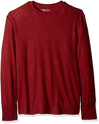 Fruit of the Loom Men's Premium Natural Touch Thermal Top, Red Rover/Black Heather, 4X