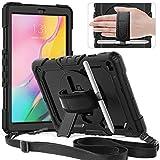 Timecity Hülle für Samsung Galaxy Tab A 10,1 2019 SM-T510 SM-T515 Anti-Fall mit Displayschutz Handschlaufe & Schulterriemen, Drehbarer Ständer, Bleistifthalter für Galaxy Tab A 10,1 Zoll-Schwarz