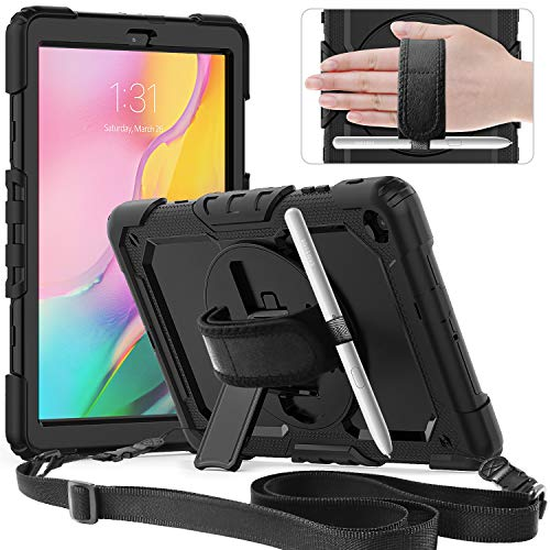 Timecity Galaxy Tab A 10.1 Case 2019 SM-T510/T515 Case Built-in Screen Protector Rotating Stand Hand/Shoulder Strap Heavy Duty Protective Case for Galaxy Tab A 10.1-Inch SM-T510N/T515N - Black