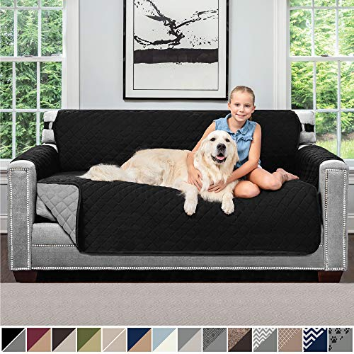 Sofa Shield Original Patent Pending Reversible Small Sofa Protector for Seat Width up to 62 Inch, Furniture Slipcover, 2 Inch Strap, Couch Slip Cover Throw for Pets, Kids, Cats, Sofa, Black Gray