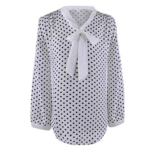 Logobeing Mujeres Manga Larga Gasa Bowknot Camisa Casual V-Cuello Puntos Blusa Lunares (L, Blanco)