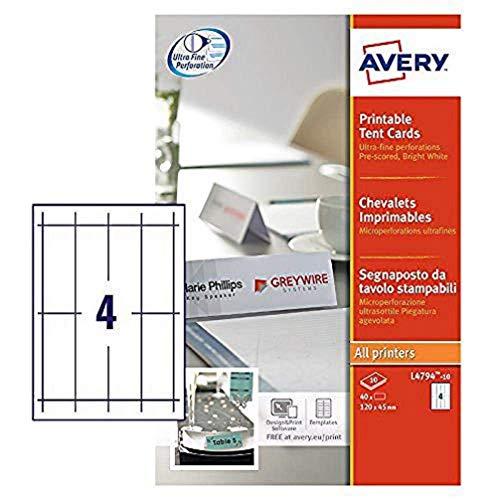 Avery L4794-10 - Segnaposto da tavolo, 120 x 45 mm, 190 g/m², 10 fogli per un totale di 40 etichette, colore: Bianco
