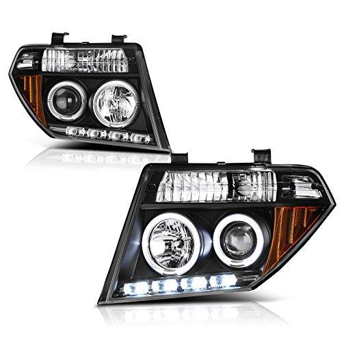 VIPMOTOZ LED Halo Ring Black Projector Headlight Headlamp Assembly For 2005-2008 Nissan Frontier & Pathfinder, Driver & Passenger Side