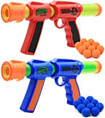 Kiddie Play Toy Foam Blasters & Guns Atomic Power Popper Ball Guns for Kids Air Shooter with Foam Balls (Pack of 2 Guns)