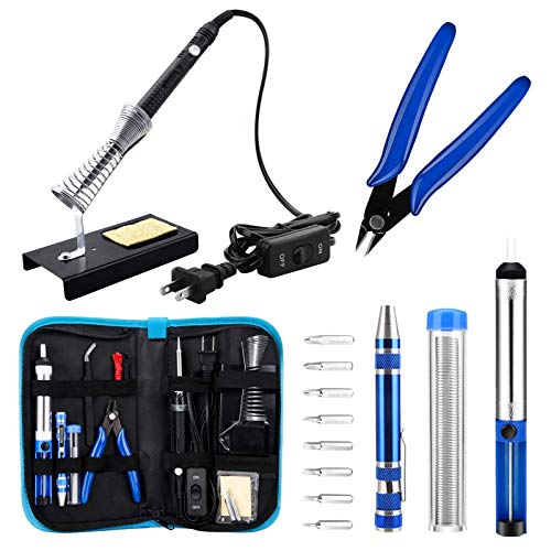 Anbes Soldering Iron Kit, Upgraded 60W Adjustable Temperature Welding Tool with ON-OFF Switch, 8-in-1 Screwdrivers, 2pcs Soldering Iron Tips, Solder Sucker, Wire Cutter,Tweezers,Soldering Iron Stand