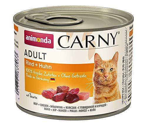 animonda Carny Carny Adult Katzenfutter, Nassfutter für ausgewachsene Katzen, Rind + Huhn, 6 x 200 g