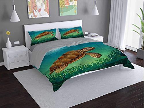 Turtle Comfort Luxurious Softest Premium Bed Sheet Set Aquatic-Life-Ocean-Animal Anti-wrinkle and anti-fading (Full)