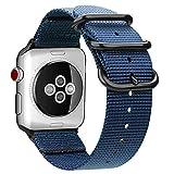 Fintie Armband kompatibel mit Apple Watch SE/Series 6 5 4 3 2 1 44mm 42mm - Premium Nylon atmungsaktive Sport Uhrenarmband verstellbares Ersatzband mit Edelstahlschnallen, Marineblau