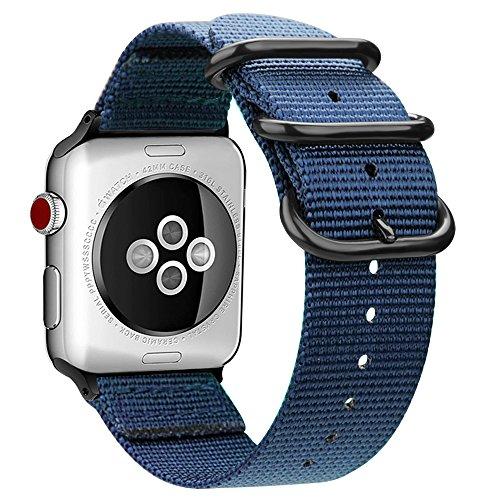 Fintie Correa Compatible con 44mm/42mm Watch Series 5 4 3 2 1 - Pulsera de Repuesto de Nylon Tejido Banda Ajustable con Hebilla de Metal, Azul Oscuro
