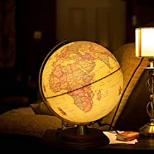 TTKTK Illuminated World Globe for Kids with Wooden Stand,Built in LED for Illuminated Night View Antique Globe for Home Décor and Office Desktop 8inch