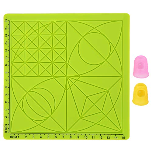 3D Pen mat Multi Basic Templates Silicone Design Mat with 2 Finger Protectors, 15cm x 15cm Square Toppan 3D Printing Pen Board for Kid or Adults, Green