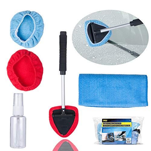 JTENG Auto Scheibenreiniger Set, 5er/Set Mikrofaser Reiniger Schwenkbar mit Waschbar Mikrofaser Wischtuch 30ml Sprühflasche Reinigungstuch Aufbewahrungstasche für Auto Home Küchen