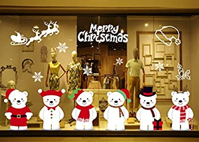 Yusongirl Christmas 6 Cute Bears Windows Stickers Decoration Snowflakes Bear Double Sided Electrostatic PVC Sticker Glass Door Fridge Showcase Window Clings Winter Holiday New Year Decals
