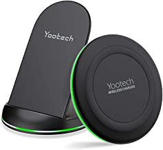 Yootech Wireless Charging Bundle, [2 Pack] Qi-Certified 10W Max Wireless Charging Pad Stand,Compatible with iPhone 11/11 Pro/11 Pro Max/Xs Max/XR/XS, Galaxy Note 10/Note 10 Plus/S10Plus(No AC Adapter)