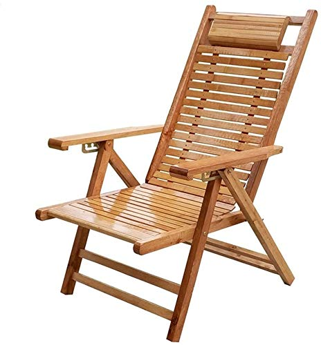 Sun Lounger Deck Chair Beach Yard Pool Folding Reclining Adjustable Chaise Bamboo Lounge Chair Indoor or Outdoor Relax Chair xiuyun