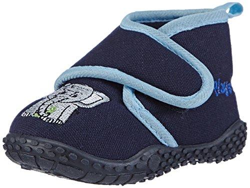 Playshoes Kinder Hausschuhe mit praktischem Klettverschluss, niedliche Hüttenschuhe für Mädchen und Jungen, mit Elefant-Motiv,Blau (Original 900),20/21 EU