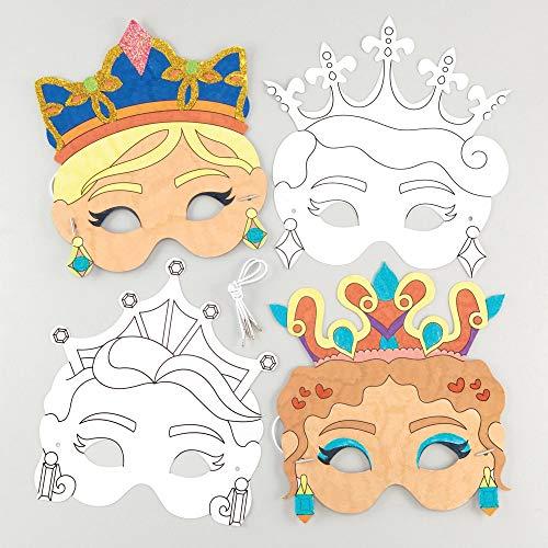 """Baker Ross Masken """"Prinzessin"""" zum Ausmalen (8 Stück) – Masken mit verschiedenen Prinzessinnen für Kinder zum Gestalten und Verkleiden"""