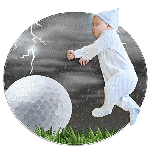 LORVIES gras veld golfbal en bliksem rond gebied tapijt art deco anti-slip rugleuning tapijt schuim mat woonkamer slaapkamer studie kinderen speelkamer super zacht tapijt vloer mat 2.3-voeten diameter
