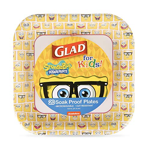 Glad for Kids Spongebob Squarepants Paper Plates, 20 Count, 8.5 Inches   Yellow Square Spongebob Plates for Kids   Heavy Duty Disposable Soak Proof Microwavable Paper Plates for All Occasions