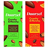 Crunchy & Munchy Pack of 2, Roasted Almonds Coated with Zesty Orange Flavored Dark Chocolate and Coated with 70% Dark Chocolate, Vegan, Gluten Free