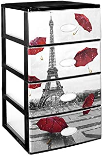 Great Plastic Stackable 4 Drawer Set with Crystal Front Decorated Paris, Black, Set of 21