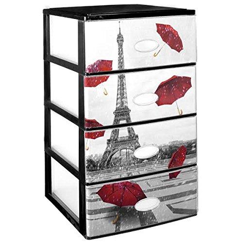 Great Plastic impilabile 4cassetti Set con Cristallo Frontale Decorata Paris, Nero, Set di 21