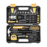 DEKO 62 Piece Tool Set General Household Hand Tool Kit with Plastic Toolbox Storage Case.