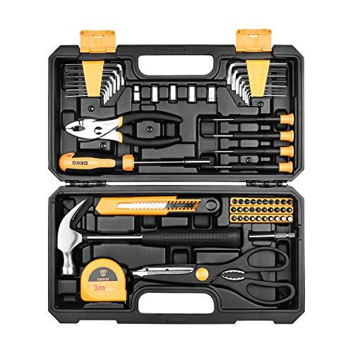 DEKO 62-teiliges Werkzeug Set Allgemeine Hand-Haushaltswerkzeug-Kit mit Kunststoff-ToolBox-Aufbewahrungskoffer