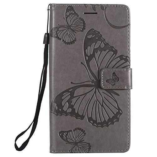 DENDICO Hülle für Xiaomi Redmi Note 5A, PU Leder Handyhülle Schutzhülle mit Standfunktion & Kartenfach für Xiaomi Redmi Note 5A - Grau