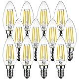 LEDフィラメント電球 LEDシャンデリア燭台電球 E12口金 led e12電球色 4.5W(白熱電球40W相当) 2700K 電球色 470lm 広配光タイプ 長寿命 3年保証付き 12個パック 非調光