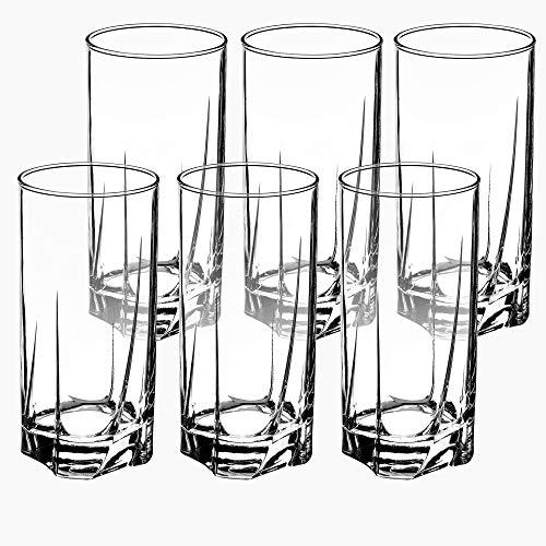 KADAX Juego de 6 Vasos de Cristal, Vasos de Agua, Copas de Zumo, Vasos para servir Agua, Bebida, Zumo, Cócteles, Casa,...