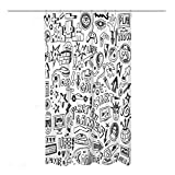 Coxila Video Games Shower Curtain Boys Funny Graffiti Monitor Device Gadget Teen 90's 36 x 72 Inch Polyester Fabric Waterproof