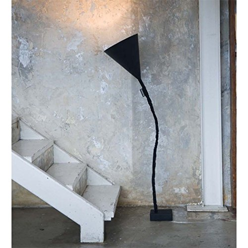 In-es.artdesign IN-ES070015N-O FLOWER LAVAGNA Lampadaire, Acier, Nebulite, Nylon, Fontes, Résine, Noir/Or