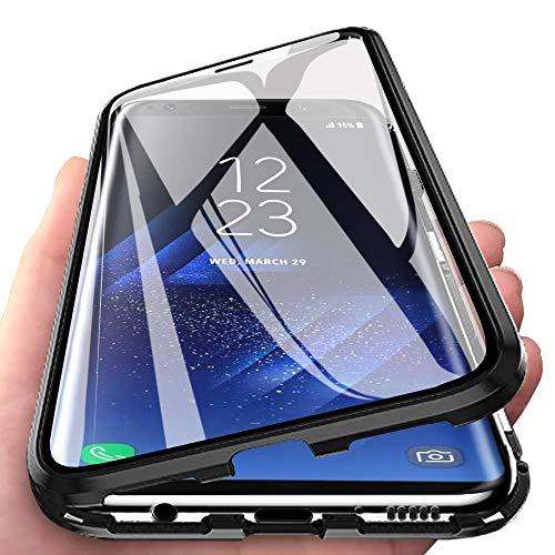 Handyhülle für Xiaomi Mi Note 10 Lite, [Metall Rahmen] Hülle Magnetisch Adsorption [Doppelseitig 9H Glas] Aluminium Bumper Magnet Hülle Kratzfeste Panzerglasfolie 360 Schutzhülle, Schwarz