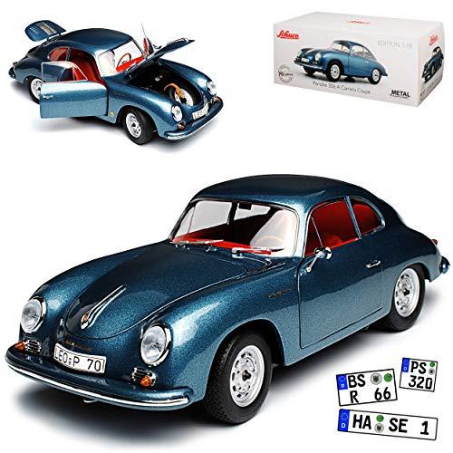 Schuco Porsche 356A Carrera Coupe Blau Grau 1955-1959 1/18 Modell Auto