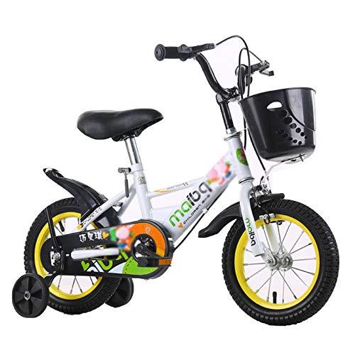 Kids Bike Boys Girls Bicycle with Training Wheels,12 14 16 18 Inch Children Bikes,White,18 in