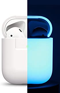 elago AirPods Silicone Case Protective Cover - Front LED Visible, Perfect Fit, Slim and Lightweight, Support Wireless Charging, Compatible with AirPods 2 & 1 (Nightglow Blue)