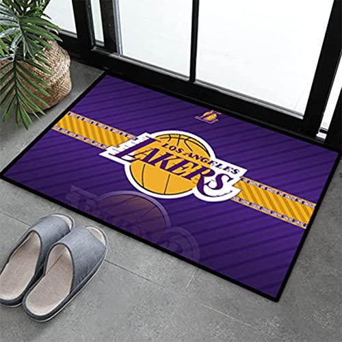 Lakers - Alfombra de baloncesto para decoración del hogar de gran tamaño, de fibra de poliéster antideslizante, tapete de yoga para niños y niñas de 1 a 60 x 90
