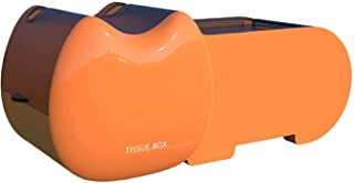 COLiJOL トイレットペーパーホルダーフック付き漫画ティッシュボックス自己粘着パンチフリー壁掛け式腹筋トイレットペーパーホルダー収納棚オレンジ付き,オレンジ