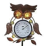 TERESA'S COLLECTIONS Metall Eule Gartenfiguren mit Thermometer Garten LED Solarleuchte für Außen 99cm Gartenleuchten Erdspiess Frühling Sommer Gartendeko Figuren Wasserfest Solarlampe für Hof