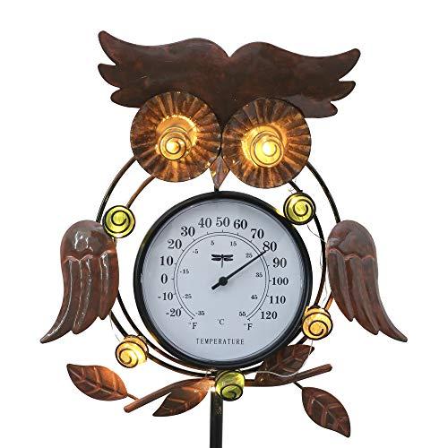 Valery Madelyn 地中埋込式 ソーラーライト 室外温度計付き 99cm フクロウ 可愛い梟 ガーデンライト ガーデン 庭 置物ライト オーナメント アウトドア 屋外 IP65防水 自動点灯/消灯 プレゼント 引っ越しのギフト