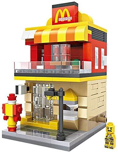LYXG Granulat-Bausteine Mini Street View-Blöcke Zusammengebautes Kinderspielzeug Micro-Blocks Fast-Food-Restaurant