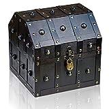 Brynnberg Caja de Madera Robin 23x23x23cm - Cofre del Tesoro Pirata de Estilo Vintage - Hecha a Mano - Diseño Retro - joyero - con candado