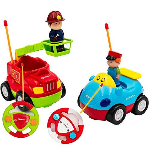 Top Race RC Cartoon Cars Toy, mi Primer Juego de Control Remoto de 2 Bomberos y carros de policía, canción Musical y luz con 2 transmisores; Diferentes Frecuencias: jueguen Juntos,