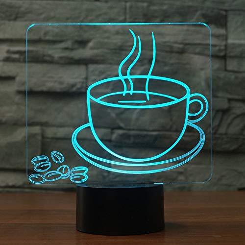 Taza de café 3D, lámpara de ilusión óptica, 7 colores, interruptor táctil, ilusión, luz nocturna, para dormitorio, hogar, decoración, boda, cumpleaños, Navidad, regalo de San Valentín