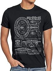 NC-1701-D Cianotipo Camiseta para Hombre T-Shirt Fotocalco Azul Trek Trekkie Star