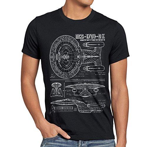 style3 NCC-1701-D Blaupause T-Shirt Herren Trek Trekkie Star, Größe:M, Farbe:Schwarz