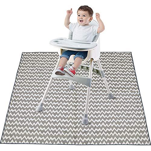 Bizcasa Kinderhochstuhl Bodenmatte, Hochstuhl Spritzschutzmatte für Babys, 130 x 130 cm Spielmatte, Waschbar Spill Mat wasserdichte Anti-Rutsch-Boden Splash Mat