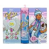 Barbie Calendrier de l'Avent ColorReveal avec 25surprises dont une poupée, un animal et un bracelet, jouet pour enfant dès 3 ans, HBT74